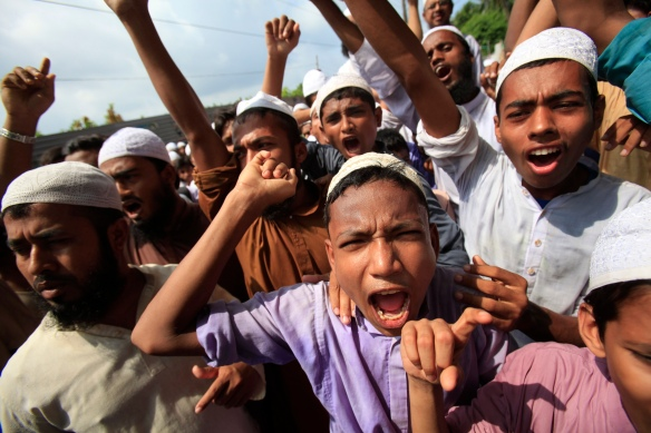 Bangladeshi Muslims chant slogans at a protest rally during a nation-wide strike in Dhaka